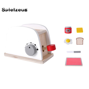 Image 2 - Kids Wooden Pretend Play Sets Simulation Toasters Bread Maker coffee machine Blender Baking Kit Game mixer Kitchen role toy#g4