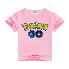 Cartoon pokemon pink girl T-shirt top casual cotton printed cute short sleeve childrens clothing