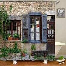 Rustic Shower Curtain Doors of An Old Rock House with French Frame Details in Countryside European Past Fabric Bathroom