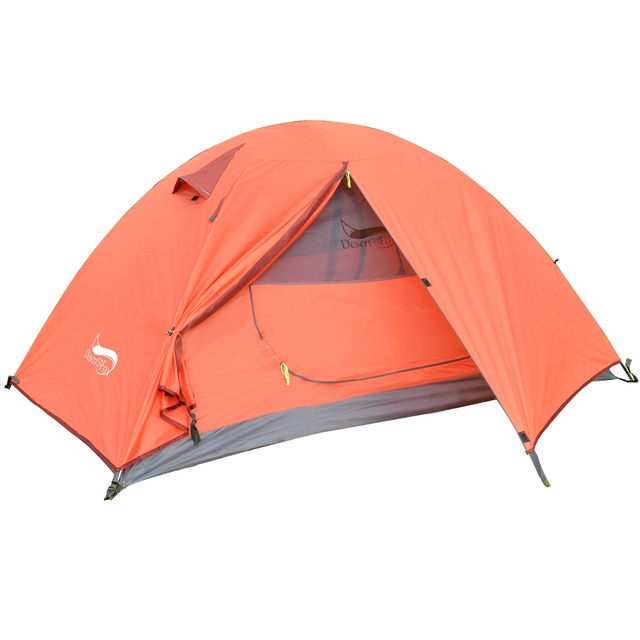Desert&Fox Backpacking Camping Tent, Lightweight 1-3 Person Tent Double Layer Waterproof Portable Aluminum Poles Travel Tents 1