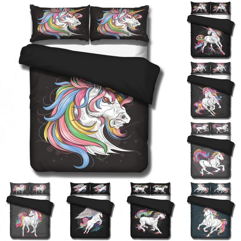 Disney Cartoon Black World Unicorn Moon Bedding Set Baby Kids Boys Girls Bedroom Decoration Quilt Duvet Covers Pillowcase