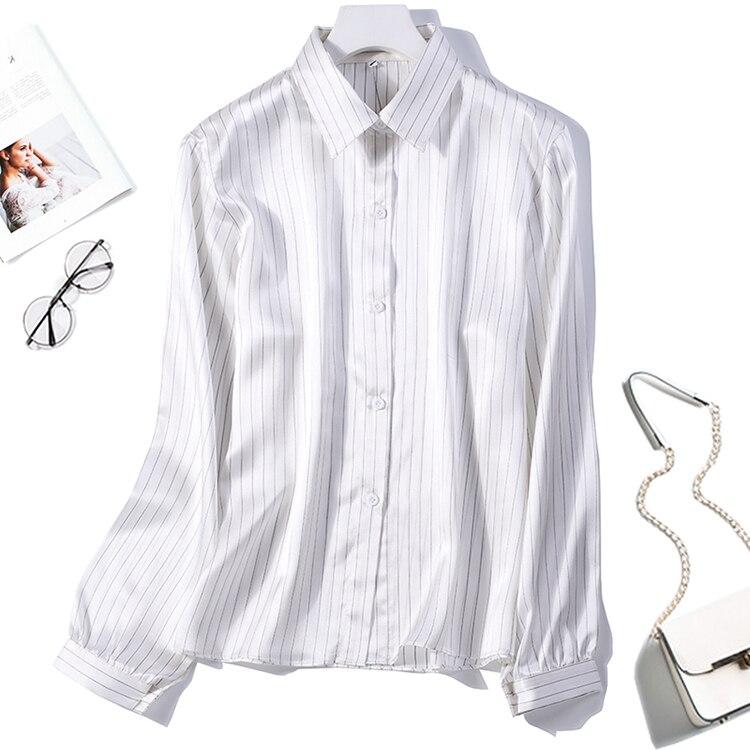 Women's 100% Pure Silk Shirt Satin Top Blouse Collared Button Down Office Work White Stripes L XL 2XL JN076