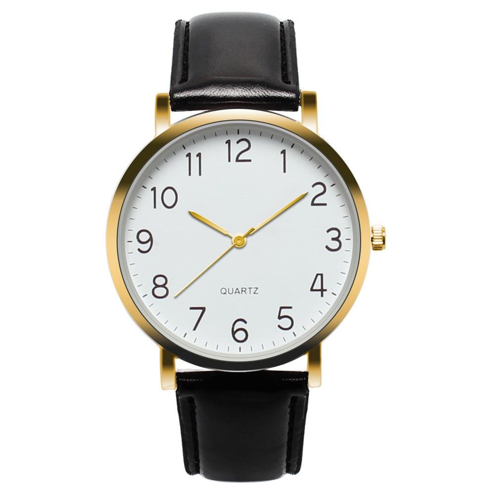 2019 Top Brand Hot Men Watches Fashion Men's Leather Band Unisex Simple Busines Analog Alloy Vintage Quartz Watch Male Clock