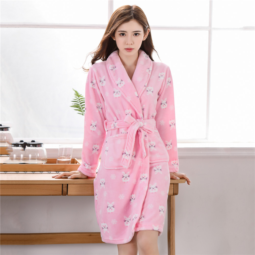 Nightgown Winter Kimono Plus Size Nightdress Coral Fleece Nightwear Thick Warm Home Clothing Ladies Bathrobe Flannel Negligee