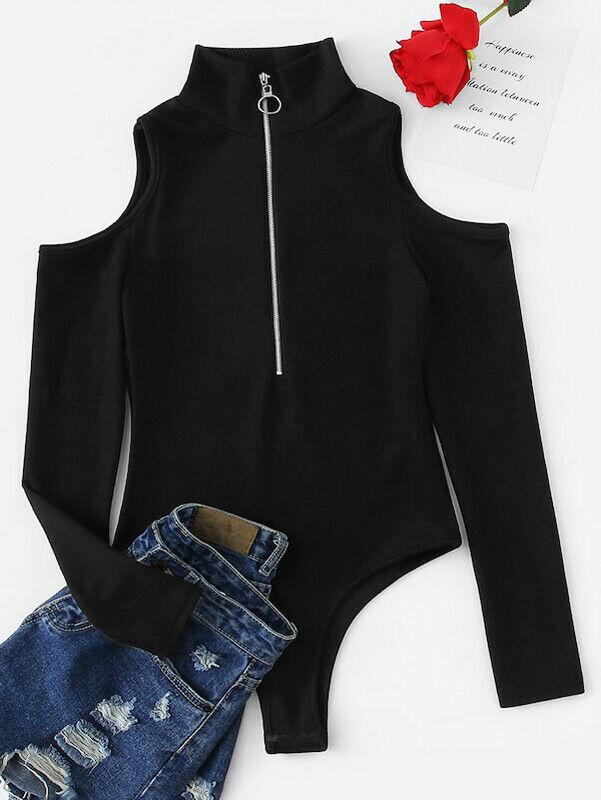 Autumn Black Bodysuit Women Zipper Up High Neck Off Shoulder Bodysuit Jumpsuit Romper Leotard Solid Playsuit Long Sleeve Tops