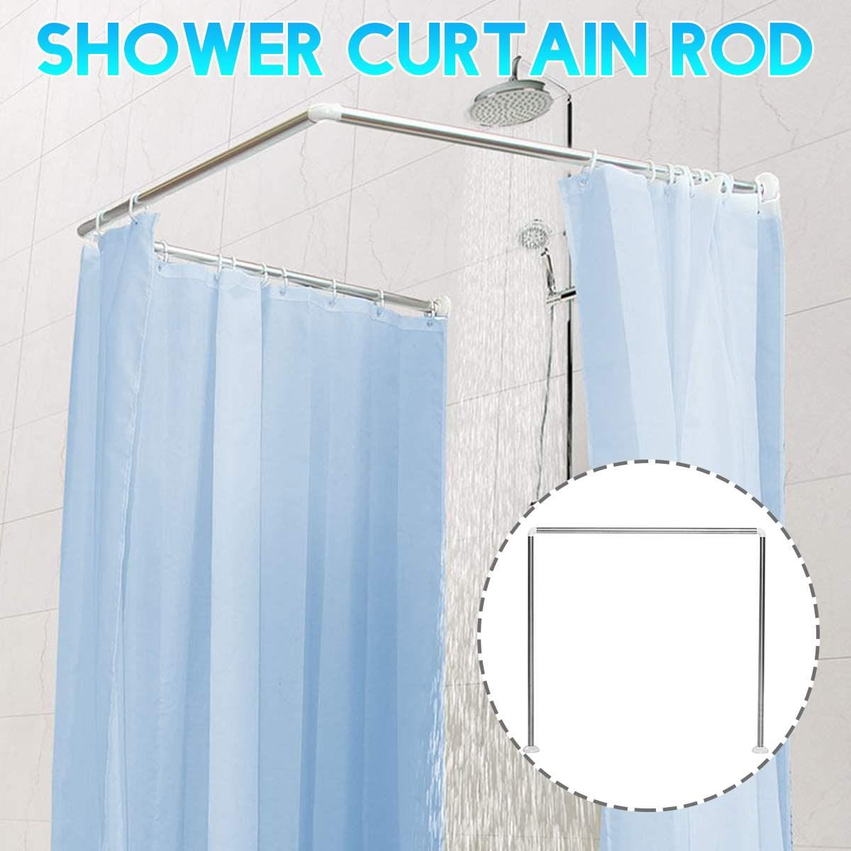 Stainless Steel/Aluminum Alloy L/U Shape Adjustable Bathroom Shower Curtain Rods Curved Rail Rod Bathroom Bar Up to 20KG Bearing