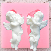 3D מוסיקה מלאך תינוק סיליקון תבניות DIY מסיבת Cupcake טופר יצק עוגת קישוט כלים חימר ממתקי שוקולד Gumpaste תבניות
