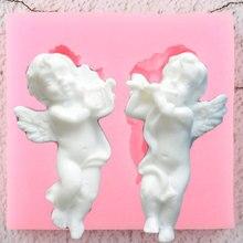 3D Music Angel Baby Siliconen Mallen DIY Party Cupcake Topper Fondant Cake Decorating Gereedschap Snoep Klei Chocolade Gumpaste Mallen