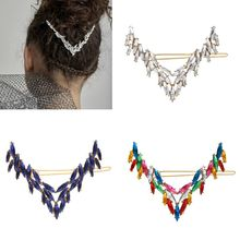 3Pcs/Set Women Bridal Jewelry Ponytail Holder Hairgrip Colorful Water Drop Rhinestone Hair Clip Large Geometric V-Shape Barrette charming fuax gem rhinestone geometric barrette set for women