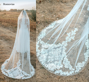 Image 1 - 2020 Long Lace Bridal Veils With Comb 3M Wedding Veils Appliques Cathedral 3 Meters Length Wedding Veils Bride Accessories