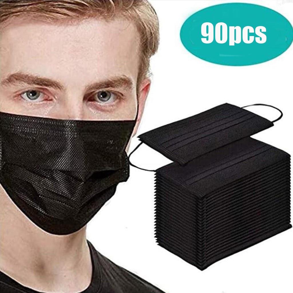 90 шт маска одноразовая маска для лица Черный Nonwove 3 Слои маска для полости рта Доказательство защитная маска для лица на покрытие, для активн...