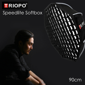 Image 1 - Triopo 90 センチメートルスピードライトソフトボックスポータブル w/ハニカムグリッド屋外オクタゴン傘フラッシュキヤノンニコンソニー godox
