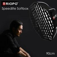 Triopo 90cm Speedlite Softbox przenośny z siatką o strukturze plastra miodu na zewnątrz ośmiokątny parasol Flash miękkie pudełko do Canon Nikon Sony Godox w Softbox od Elektronika użytkowa na