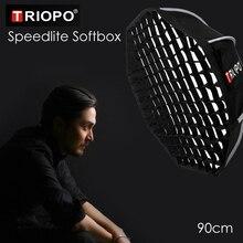 Triopo 90cm Speedlite Softbox נייד w/כוורת רשת חיצוני אוקטגון מטריית פלאש רך תיבת עבור Canon Nikon Sony godox