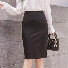 Skirts Womens Elegant Split Elastic Skirt Women Korean Woman High Waist Pencil Plus Size Bodycon XL/5XL