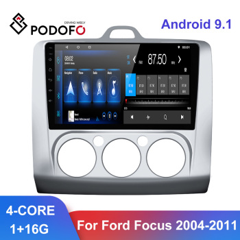 Podofo Android 9.1 Car Radios GPS WIFI Split Screen 2 Din Car Multimedia player 9'' Audio Player For Ford Focus 2004 - 2011 image