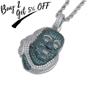 Image 2 - TOPGRILLZ ICEDOUT Blueface Benjamin Piece Pendant with Tennis Chain Bling Hip Hop Jewelry Street Culture