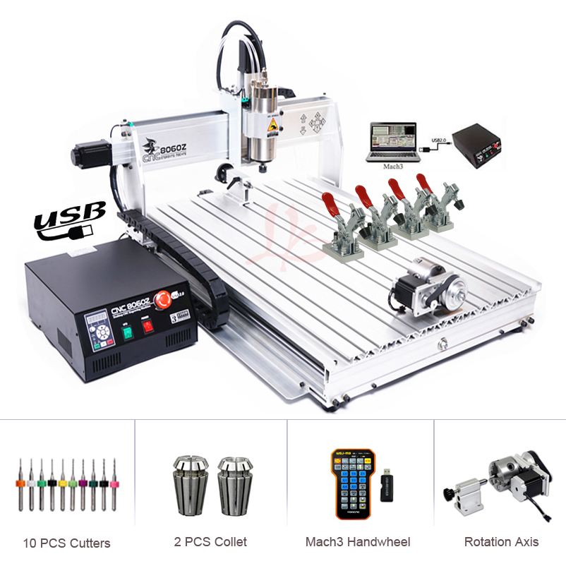 USB Port 4axis 2.2KW CNC Engraving Machine 8060 Jade Tombstone Stone Acrylic Computer Carving CNC Cutting Machinery