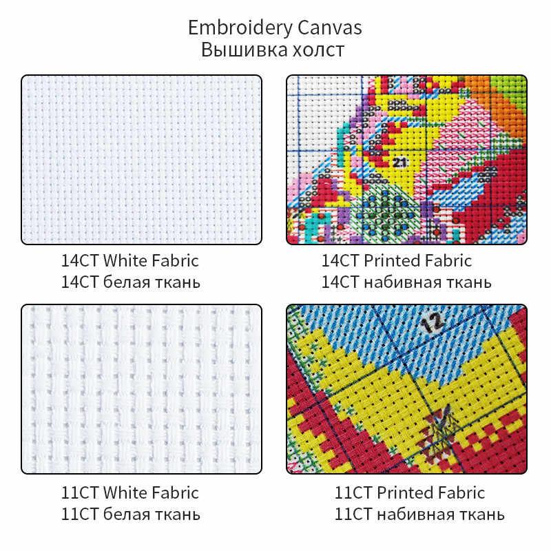 Joy sunday Dance of the swan Printed on Fabric Cross Stitch kits,DMC Embroidery Thread Sets, DIY Handmade Needlework