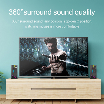 Redragon aux 3.5mm stereo surround music smart RGB speakers sound sound bar for computer 2.0 PC home notebook TV loudspeakers 3