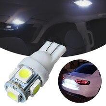 Uds/30 Uds coche LED T10 W5W 5050 5SMD lectura cúpula lámpara 168 de 194 de 192 DC 12V bombilla para placa de matrícula marcador Luz de cuña blanco