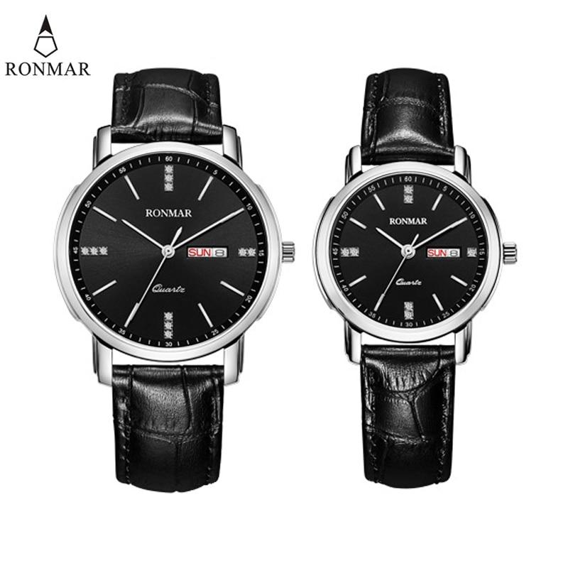Fashion Couple Watch RONMAR Calendar Women Leather Strap Top Brand Luxury Quartz Watch Waterproof Wristwatch Relogio Masculino