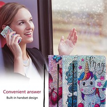 Shining Wallet Flip PU Leather Case For Google Pixel 4 XL 4 Cases For LG K12 Plus K40 Unicorn Pattern Card Slot Phone Bags Coque