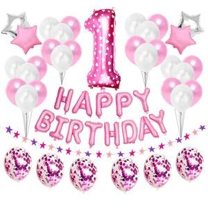 Image 1 - First Happy Birthday Pink Balloon Banner Party Decoration Star Garland Baby Kids Boy Girl My 1st One 1 Year Supplies Confetti