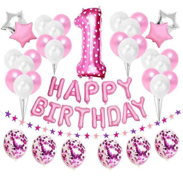 First Happy Birthday Pink Balloon Banner Party Decoration Star Garland Baby Kids Boy Girl My 1st One 1 Year Supplies Confetti
