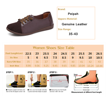 PEIPAH 2020 Genuine Leather Shoes Woman Spring Ladies Shoes Slip On Ballet Flats Sneakers Women