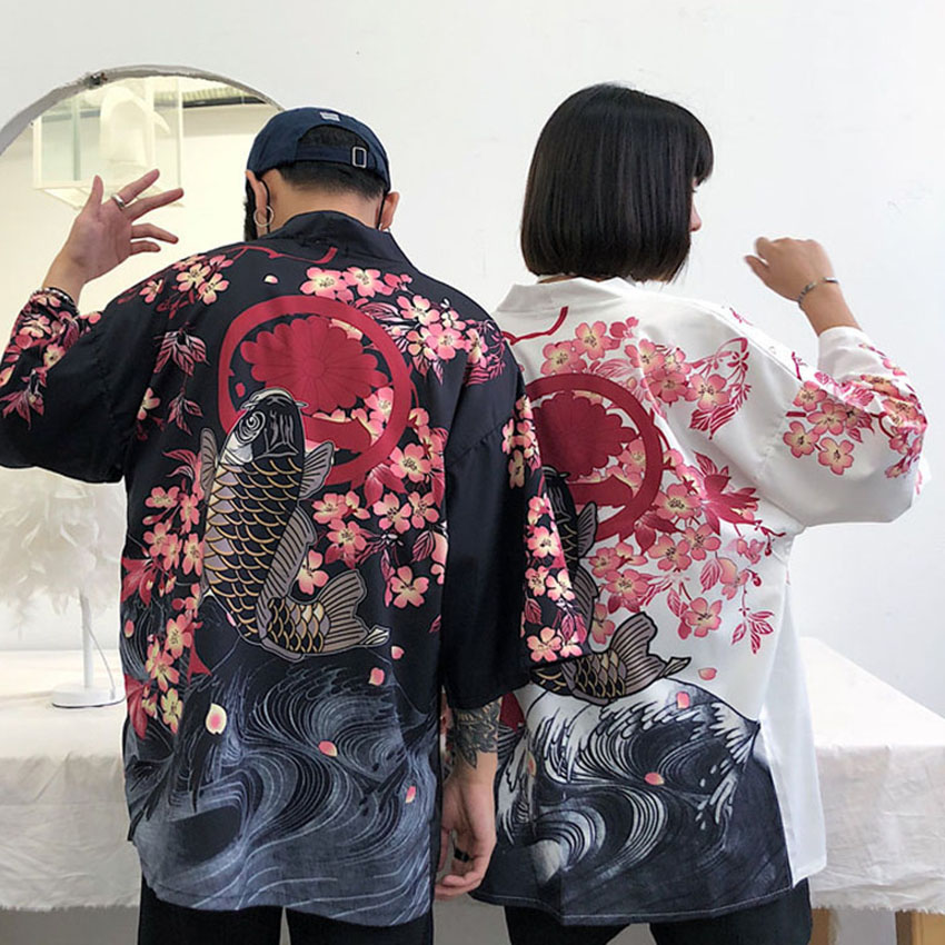 Haori Japanese Style Male Shirt Lovers Chinese Dragon Fish Clothing Samurai Crane Men Women Blouse Plus Size Kimono Fancy Asian