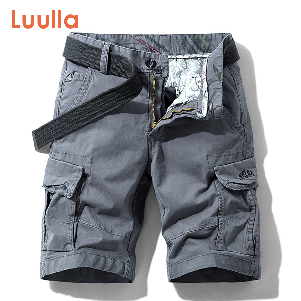 Luulla Men Summer New Premium Stretch Twill Cotton Cargo Shorts Men Casual Fashion Solid Classic Pockets Legwear Shorts 28-38
