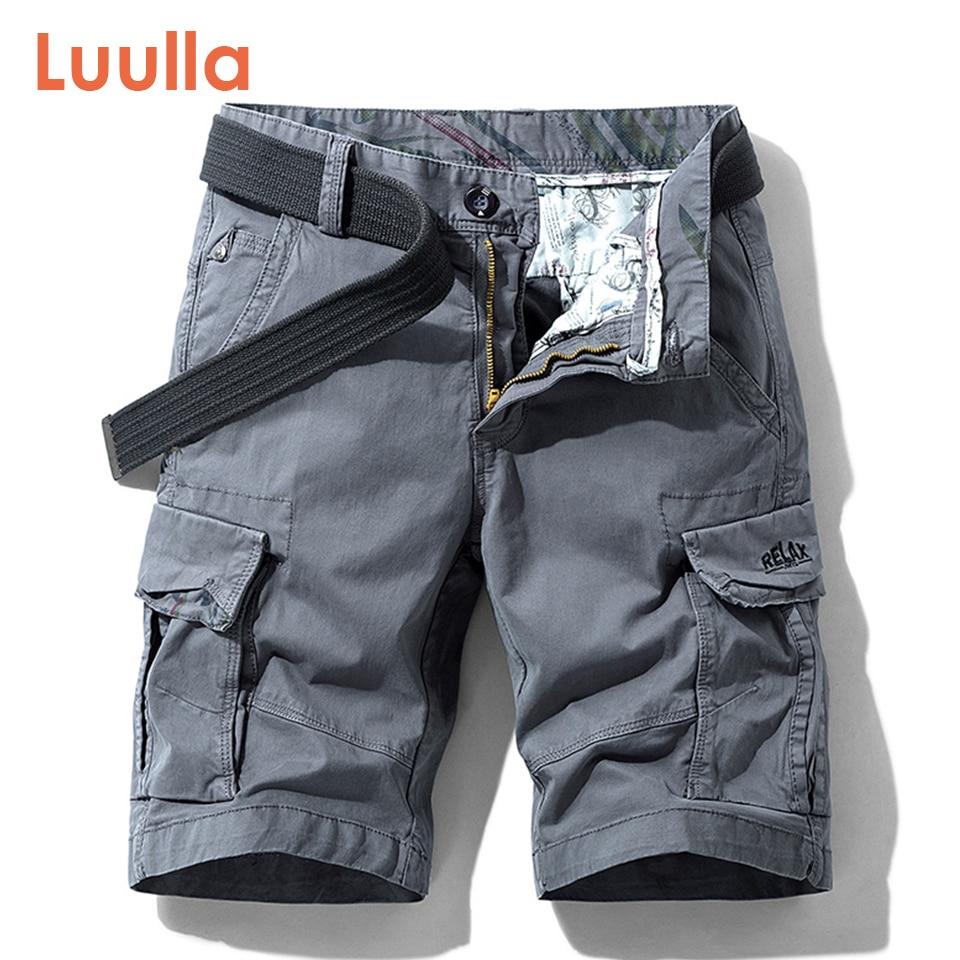 Luulla Men Summer New Premium Stretch Twill Cotton Cargo Shorts Men Casual Fashion Solid Classic Pockets Legwear Shorts 28-38