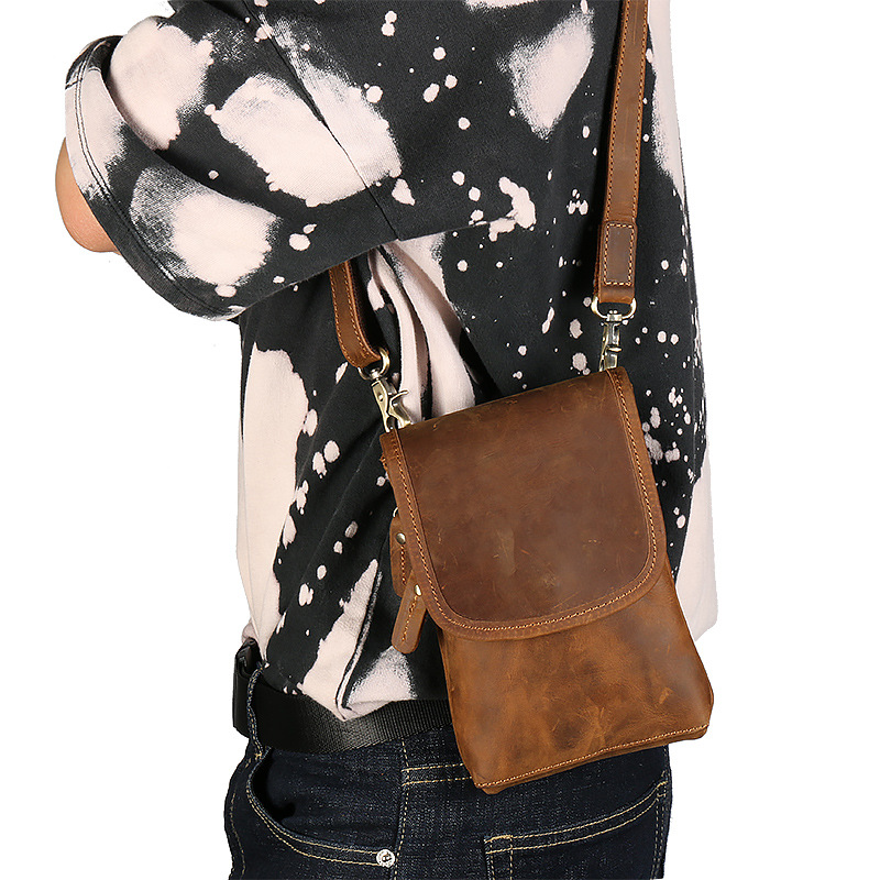 Waist Leather Men's Pocket Shoulder Bag  Crazy  Horse Leather Fanny Pack Layer Leather  Vertical Retro Leather Small Bag For Men