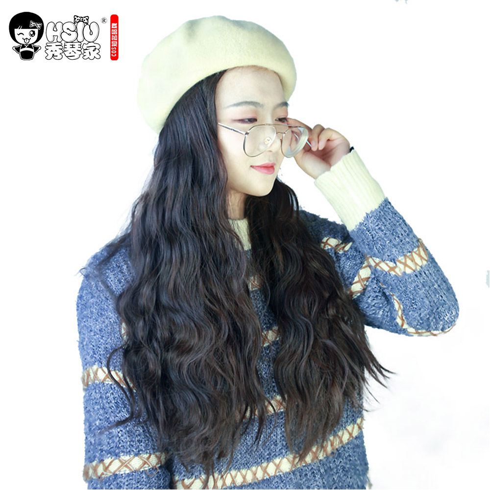HSIU Retro Women Beret Wig Wool Roll Long Hair,fashion Convenient Hair Fall Winter Retro Fiber Synthetic Wig