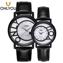 ONLYOU New Lover Watches Creative Top Band Luxury Men Black Quartz Wristwatch Women Fashion Jewelry Diamond Clock Couple Gift цена