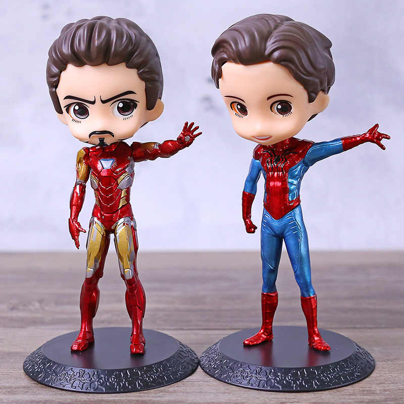 Q Posket Marvel Homem De Ferro Tony Stark/Spiderman Peter Parker Q Versão PVC Figura Collectible Toy Modelo