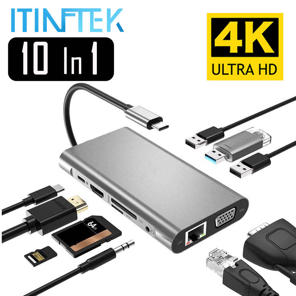 USB tip C Hub tipi C HDMI 4K VGA adaptörü RJ45 Lan Ethernet SD TF USB-C 3.0 C tipi 3.5mm Jack ses Video MacBook Pro için OTG