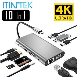 Adaptateur USB Type C vers HDMI 4K VGA adaptateur RJ45 Lan Ethernet SD TF USB-C 3.0 Type 3.5mm prise Audio vidéo pour MacBook Pro OTG