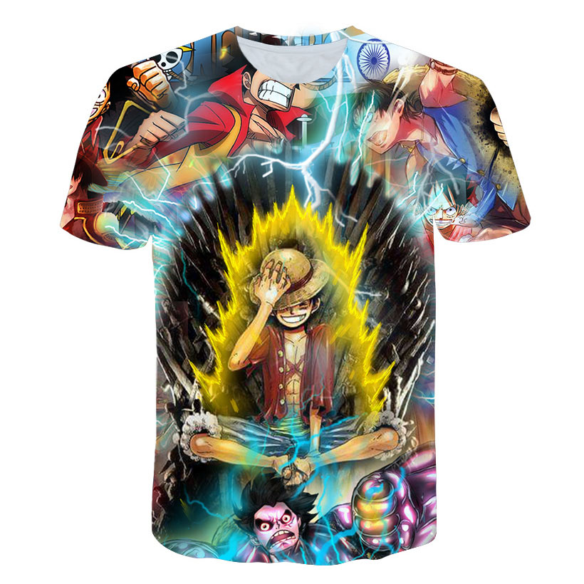 New Anime 3D Tshirt Summer Men's Funny fire Print One Piece 3d T-shirt Male Hip hop Streetwear O-Neck T Shirts tops&Tees Shirt