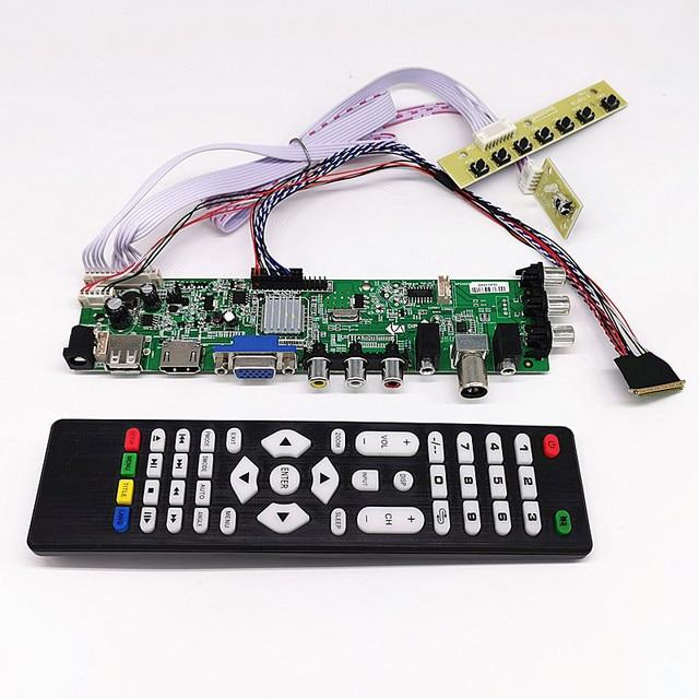 """DVB T2/DVB T/DVB C LCD numérique TV pilote contrôleur carte Kit pour 15.6 """"40 broches LCD B156XW02/LP156WH2/LP156WHB/LP156WH4 1366*768"""