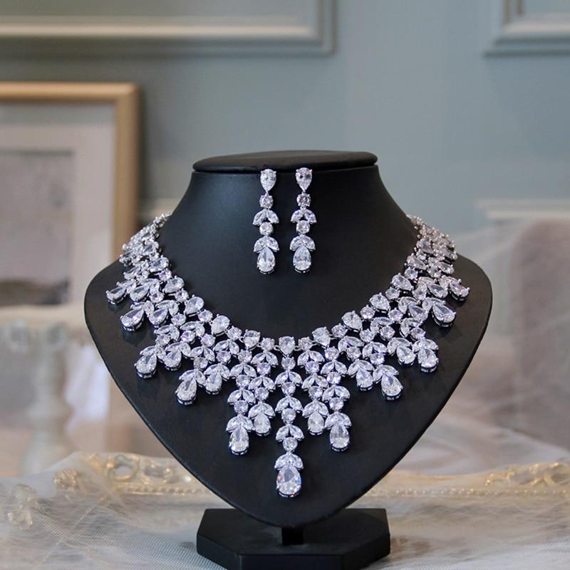 Fashion AAA Cubic Zircon Wedding Bride Jewelry Set Necklace Earrings Water Drop Set