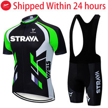 2021 STRAVA Short Sleeve maillot Cycling Clothing Breathable Bike Riding Ropa Ciclismo Bicycle Jersey set Black blue