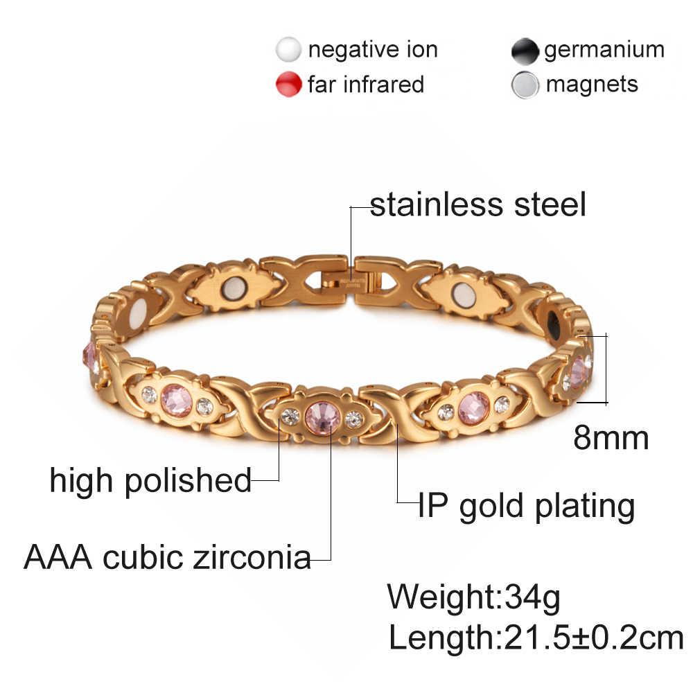 Vinterly, pulsera magnética para mujer, cadena de cristal, color dorado, pulsera de acero inoxidable, pulseras de energía para la salud cruzada para mujer
