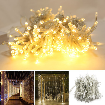 LED Icicle String Lights Led Wedding Fairy Light Christmas Light Garland For Garden Party Curtain Decoration Holiday Lighting 3 5m 220v led moon star lamp christmas garland string lights fairy curtain light outdoor for holiday wedding party decoration