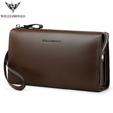 Wallet For Men Minimalist Business Genuine Leather Handbag WILLIAMPOLO Fashion Zipper Multiple Internal Compartments Clutch Bag williampolo minimalist business men s clutch bag genuine leather flap handy wallet men clutches with cigarette case phone pocket