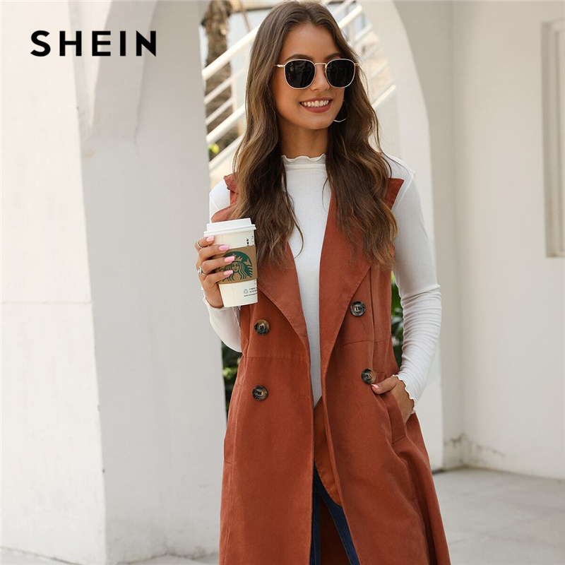 SHEIN Solid Double-breasted Waterfall Collar Trench Vest Women Outwear Spring Autumn Sleeveless High Street Midi Casual Coats