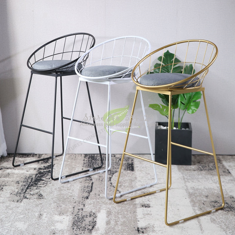 38%Modern Bar Stool Wrought Iron Gold Bar Chair Seat Bar Furniture Beauty  High Stool Modern Dining Chair Iron Leisure Chair