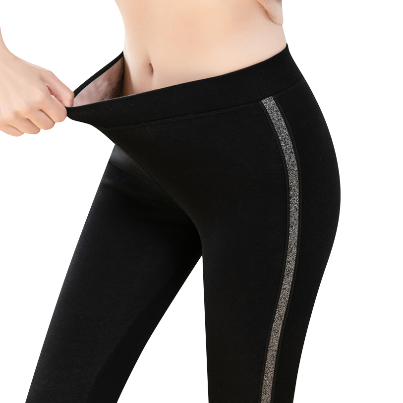 2020 Autumn Winter Cotton Velvet Leggings Women High Waist Side Stripes Sporting Fitness Leggings Pants Warm Thick Leggings 1