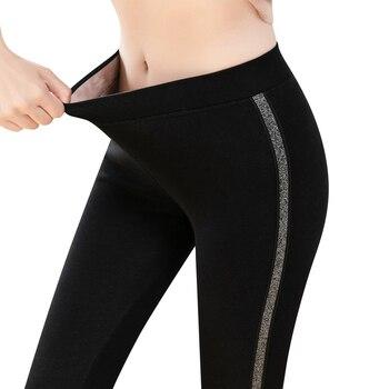 2020 Autumn Winter Cotton Velvet Leggings Women High Waist Side Stripes Sporting Fitness Leggings Pants Warm Thick Leggings 1